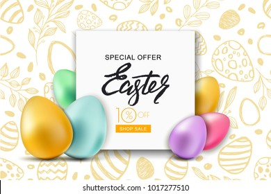Happy Easter sale banner. Vector holiday frame with multicolor 3d Easter eggs on hand dawn doodle background. Design for holiday flyer, poster, party invitation.