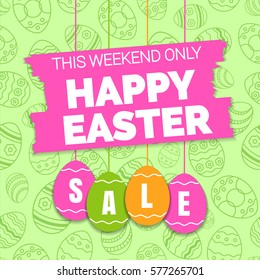 Happy easter sale offer, banner template. Colored ornate eggs with lettering, isolated on green seamless background. Easter eggs sale tags. Spring Shop market poster design. Vector