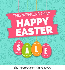 Happy easter sale offer, banner template. Colored ornate eggs with lettering, isolated on blue seamless background. Easter eggs sale tags. Spring Shop market poster design. Vector