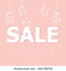 Happy Easter Sale on pink pastel backround