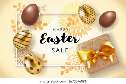 Happy Easter sale poster background with realistic golden and chocolate decorated eggs and flower pattern with gift box. Greeting card trendy design. Invitation template Vector illustration