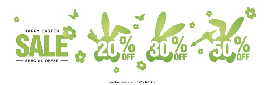 Happy Easter Sale special offer 20 30 50 percent off green banny negative space discount numbers stickers white background