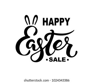 Happy Easter Sale text isolated on background. Hand drawn lettering Easter as Easter logo, badge, icon. Template for Happy Easter Day, invitation, greeting card, web, postcard.