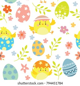 Happy Easter.  Seamless pattern of Happy Easter. ?hicken and eggs. Vector illustration
