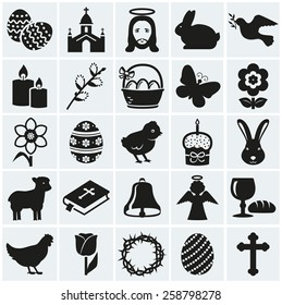 Happy Easter! Set of 25 holidays, religious and concept symbols. Collection of silhouette black elements for your design. Vector illustration.