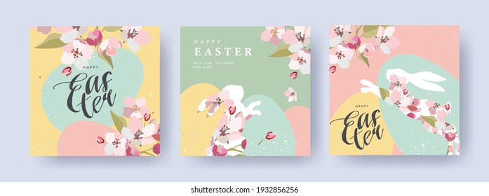 Happy Easter Set of banners, greeting cards, posters, holiday covers. Trendy design with typography, spring apple flowers, dots, eggs and bunny in pastel colors. Modern art minimalist style.