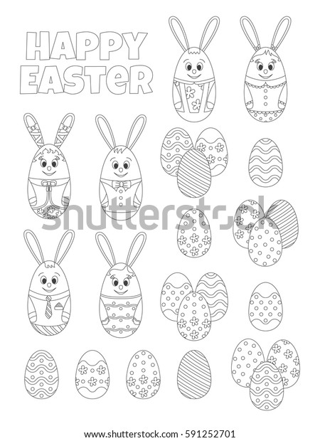 happy easter set coloring book 600w