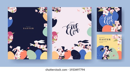Happy Easter Set of Corporate greeting cards, invitations, holiday covers, posters or flyers design. Trendy Easter design templates with frame made of eggs, rabbits and spring flowers in pastel colors