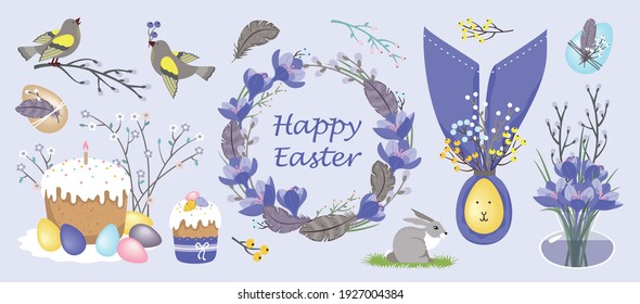 HAPPY EASTER set: crocuses, decorated eggs, willow wreath, singing bird, cakes. Vector, isolated, pastel colors.