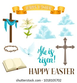 Happy Easter set of decorative objects. Religious symbols of faith.