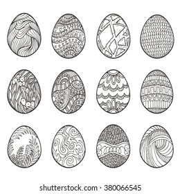 Happy Easter. Set of different eggs for design, cards and invitations.