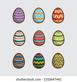 Happy Easter Set Of Eggs Collection Cartoon Vector Illustration