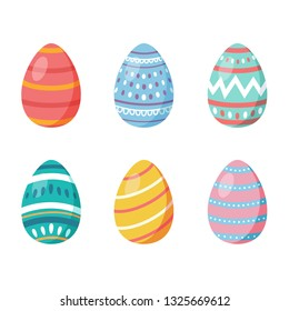 Happy Easter. Set of Easter eggs with different texture on a white background. Spring holiday. Vector Illustration. Happy Easter eggs - Vector illustration
