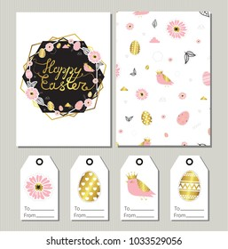 Happy Easter. Set of holiday gift tags and greeting cards with easter egs, birds and geometric elements. Nature, spring.