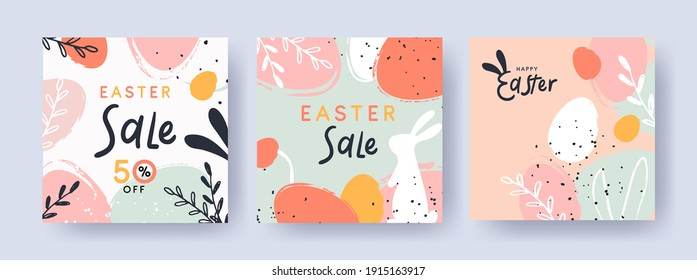 Happy Easter Set of Sale banners, greeting cards, posters, holiday covers. Trendy design with typography, hand painted plants, dots, eggs and bunny, in pastel colors. Modern art minimalist style. - Shutterstock ID 1915163917