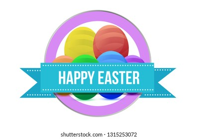 Happy, Easter sign seal illustration isolated over a white background
