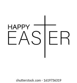 Happy Easter sign vector files Cross clipart Christian Religious