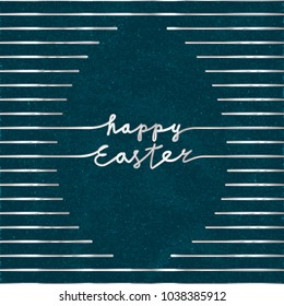 Happy Easter Silver Metallic Style Logo and Blank Egg Shape Created by Repeating Horizontal Lines with Lettering - Silver Elements on Blue Rough Paper Background - Hand Drawn Gradient Design