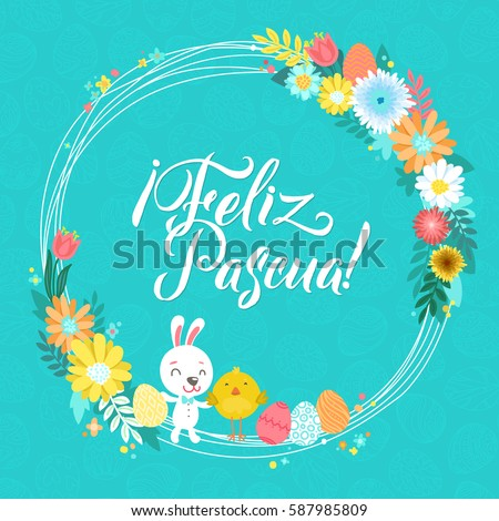 Happy easter spanish calligraphy greeting card stock vector royalty happy easter spanish calligraphy greeting card modern brush lettering and floral wreaths joyful wishes m4hsunfo