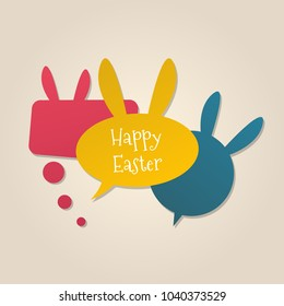 Happy Easter speech bubbles with bunny ears. Social media concept.