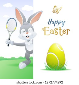 Happy Easter. Sports greeting card. Cute Rabbit with Tennis Egg and Tennis racquet. Vector illustration.