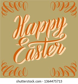 Happy Easter. Square greeting card. Orange script lettering with shadow and ornament on corners. Vector holiday illustration. Handwriting calligraphic inscription. Isolated cursive and decoration.