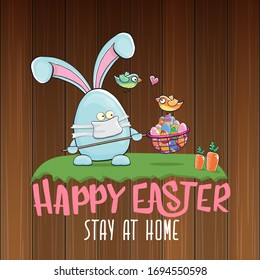 Happy easter stay at home greeting card with funny cartoon blue rabbit with medical face mask holding butterfly net with colorfull easter eggs. Easter egg hunt hand drawn concept illustration banner.