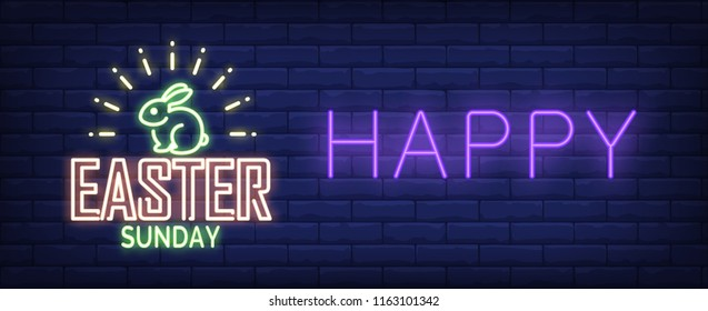 Happy Easter Sunday neon sign. Shining Easter bunny on brick wall background. Vector illustration in neon style for festive banners and posters