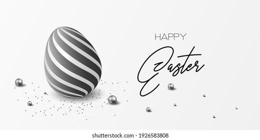 Happy easter template with blue, white rustic floral eggs, dotted background. Vector illustration. Design layout for invitation, card, menu, flyer, banner, poster, voucher. Elegant design