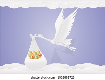 Happy easter template.six eggs in a cloth bag to fly around the sky by egret,cloud. Vector illustration. card, paper cut,digital craft style.