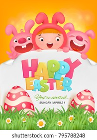 Happy easter template with girl and two pink rabbits. Vector illustration