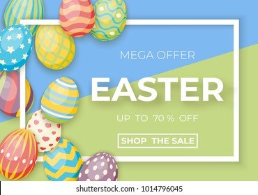 Happy easter template with white frame and eggs. Vector poster with eggs