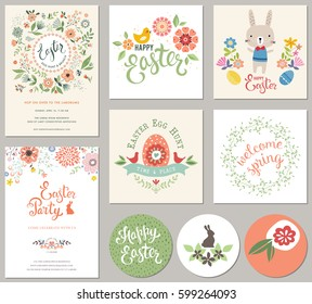 Happy Easter templates with eggs, flowers, floral wreath, rabbit and typographic design. Good for spring and Easter greeting cards and invitations.
