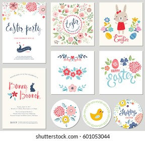 Happy Easter templates with eggs, flowers, floral wreath and branches, rabbit, chick and typographic design. Good for spring and Easter greeting cards and invitations.