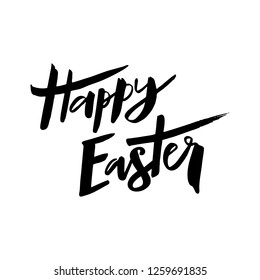 Happy Easter text. Hand drawn brush lettering. Design for badge, postcard, card, invitation, poster, banner. Seasons Greetings typography. Vector illustration