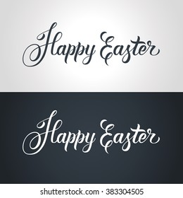Happy Easter text hand-lettering. Handmade vector calligraphy collection