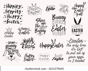 Happy easter text illustration and lettering composition collection. Happy easter black typographic isolated on white background. Spring holiday poster set or t-shirt print designs