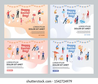 Happy Easter with text sample set. Families celebrating Easter, people holding and painting eggs. Flat vector illustrations. Holiday concept for banner, website design or landing web page
