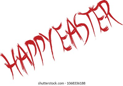 Happy Easter text sign illustration on white background