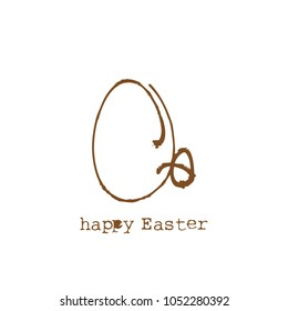 Happy Easter text typewriting and chocolate eggs doodle, simple vector greeting card.