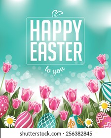 Happy Easter tulips eggs and text EPS 10 vector royalty free stock illustration for greeting card, ad, promotion, poster, flier, blog, article, social media