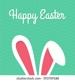 Happy Easter Typographical Background With Bunny - Shutterstock ID 593709188