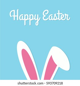 Happy Easter Typographical Background With Bunny - Shutterstock ID 593709218