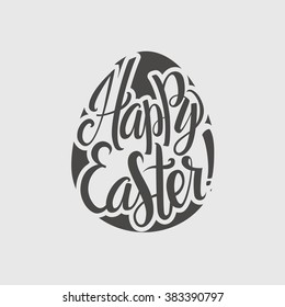 Happy Easter Typographical Background. Hand Lettering, Egg Calligraphy Card