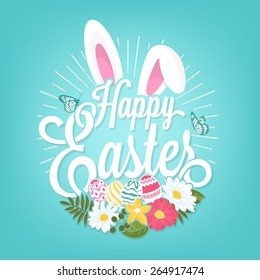 Happy Easter Typographical Background With Rabbit And Flowers