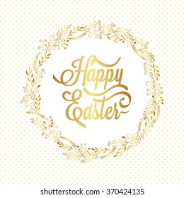 Happy Easter Typography Background with gold wreath and calligraphy greeting.