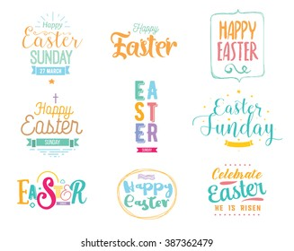 Happy Easter typography design set. Isolated compositions on transparent background. Calligraphy, lettering and hand drawn elements. Usable for posters, cards any print. Easter sunday. Easter holiday.
