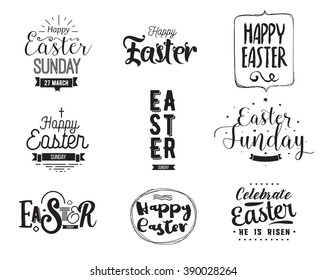 Happy Easter typography design set. Isolated compositions on white background. Calligraphy, lettering and hand drawn elements. Usable for posters, cards any print.