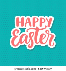 Happy Easter typography poster template with hand written modern calligraphy
