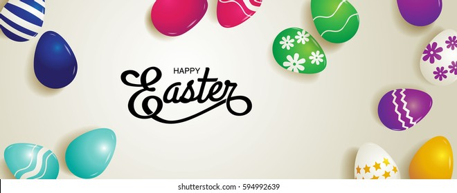 happy easter, typography, vector illustration.